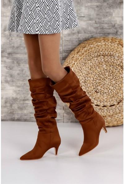 Shoetek 1380 Kadın Çizme Taba Süet