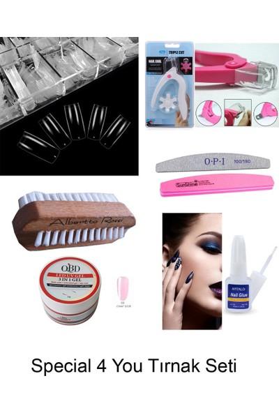 Special For You Protez Tırnak Seti 7 Parça, 500LÜ Şeffaf Tırnak +Fırca+Yapıştırıcı+Makas+Törpü+3in1 Gel (Clear Pink