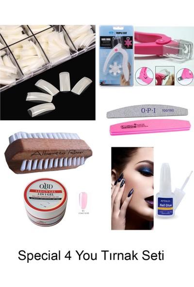 Special For You Protez Tırnak Seti 7 Parça, 250Lİ Naturel Tırnak +Fırca+Yapıştırıcı+Makas+Törpü+3in1 Gel(Clear Pink