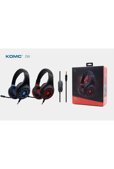 Komc Z90 Kırmızı 3,5mm Telefon Uyumlu Oyuncu Mikrofonlu Kulaklık