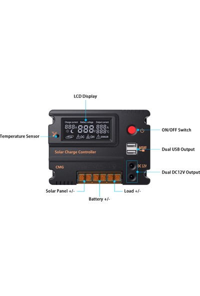 Anself Kendini 10A 12V 24V LCD Solar Şarj Kontrol Paneli Akü