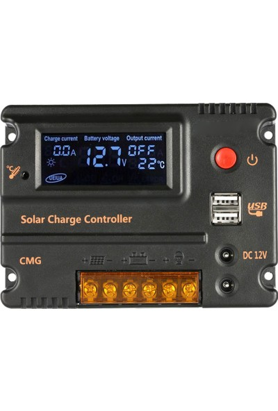Anself Kendini 20A 12V 24V LCD Solar Şarj Kontrol Paneli Akü