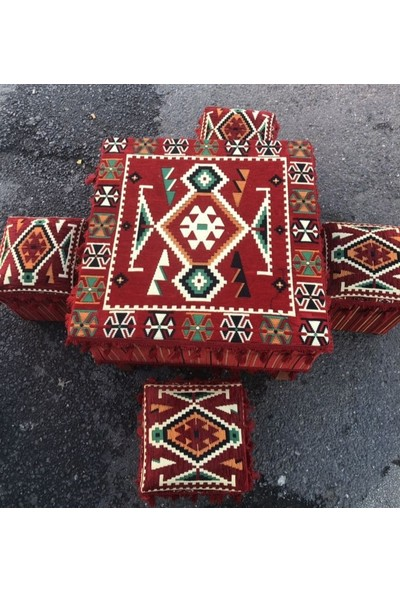 Coton Şark Köşesi Bahçe Mobilyaları Ahşap Masa 4 Tabure Takımı Kırmızı