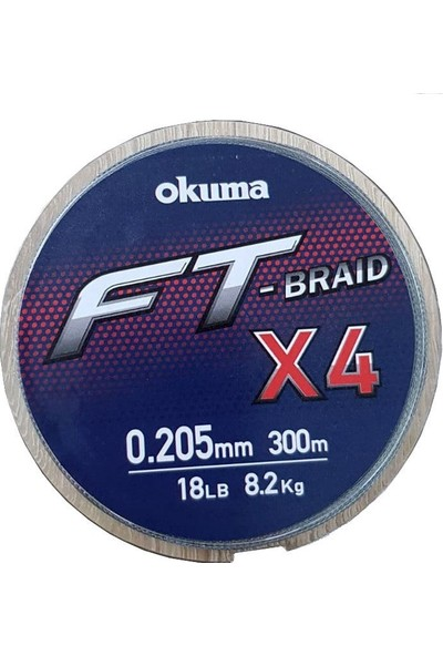 Okuma Ft-*4 Braided Line 300 mt Grey Örgü Ip 0,280 mm