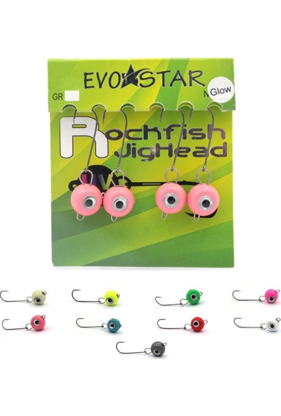 Evostar Rockfish Lrf Melek Gözlü Jighead Glow Pembe - 1.5 gr