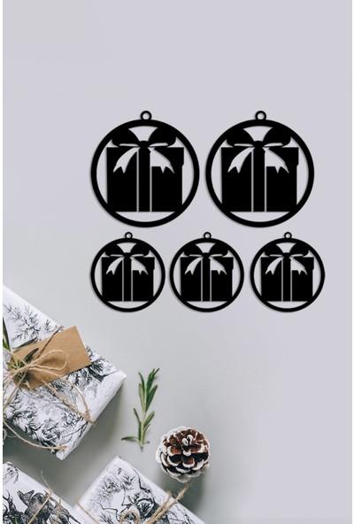 MIGNATIS - Büyük Çerçeve İçinde Noel Baba ve Hediye Paketi Yılbaşı Süslemeleri Mdf Kesim- Siyah