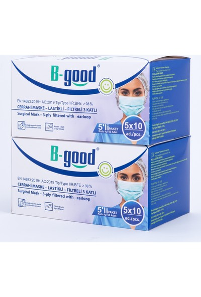B-Good Filtreli 3 Katlı Lastikli Cerrahi Maske 2 Kutu (2*50)