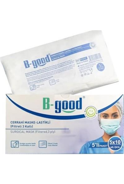 B-Good Filtreli 3 Katlı Lastikli Cerrahi Maske 3 Kutu (3*50)