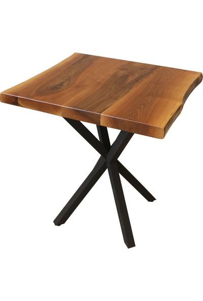 Ateş Wooden Doğal Ahşap Kütük Ceviz Cafe Masa