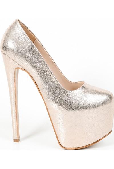 Meshure Rugan Kapalı Ince Topuk Platform Kadın Ayakkabı