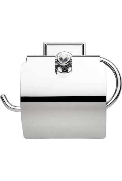 Kozak Yapışkanlı Taşlı Oval Kapaklı Tuvalet Kağıtlığı Krom