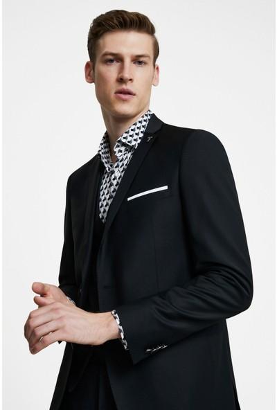 Tween Slim Fit Siyah Yelekli Takım Elbise