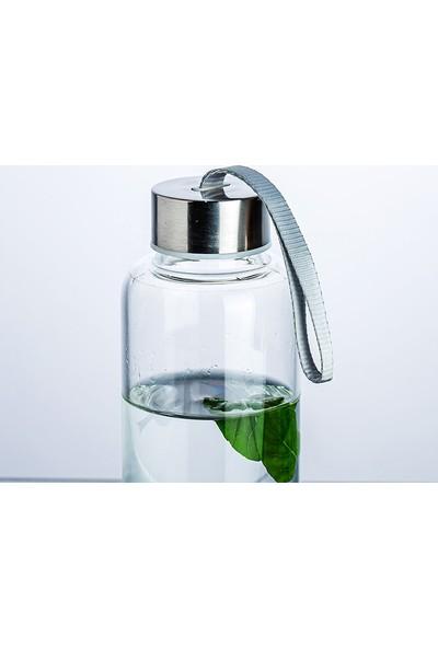 Ayzi Tasarım Kişiye Özel Cam Su Şişe Matara Suluk 500 ml + Kılıf