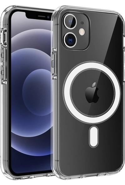 Teleplus Apple iPhone 12 Kılıf Coss Wireless Destekli Hibrit Silikon + Wireless Şarj Aleti Şeffaf