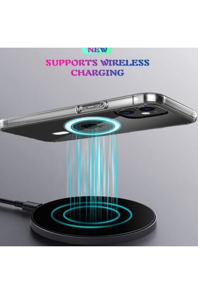 Teleplus Apple iPhone 12 Pro Max Kılıf Coss Wireless Destekli Hibrit Silikon + Wireless Şarj Aleti Şeffaf