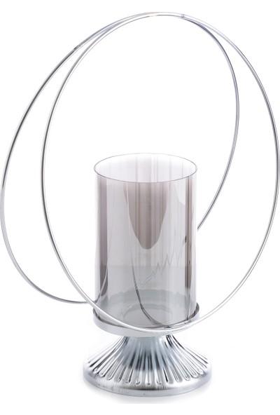 Hayal Dünyam Tel Şamdan 30 cm Gümüş Renk Camlı Model
