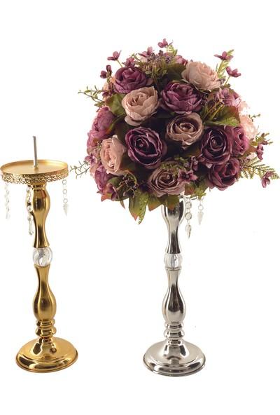 Hayal Dünyam 54 cm Çiçek Şamdanı Gold Renk Çiçeksiz