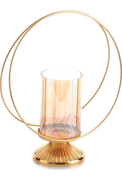 Hayal Dünyam Tel Şamdan 30 cm Gold Renk Camlı Model