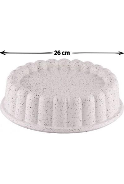 Taç Granit Döküm Tart Kalıbı Krem 26 cm