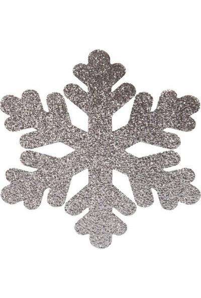 Organizasyon Pazarı Gümüş Kar Tanesi Strafor Yılbaşı Süsü 15 cm Çift Taraflı 4 Adet