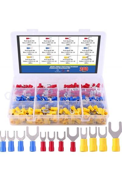 Ukron 240 Parça Izoleli Çatal Terminal Pabuç - Kablo Pabucu Elektrik Konnektör Seti, Sarı, Mavi, Kırmızı