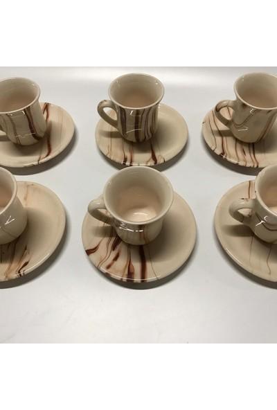 İlbay Çini Takı 6 Lı Seramik Ebruli Desen Kahve Fincanı Takımı