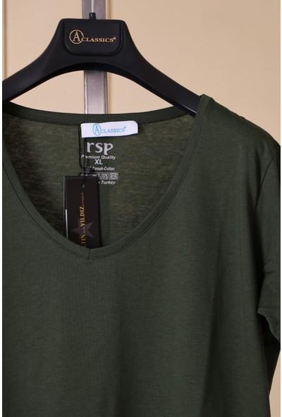 Aclassics V Yaka Uzun Yırtmajlı Yarım Kollu Yeşil Penye T-Shirt