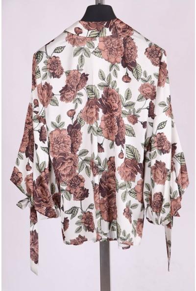 Aclassics Kahverengi Çiçek Desenli Ipek Dokulu Kolları Bağcık Detaylı Yakalı Bluz