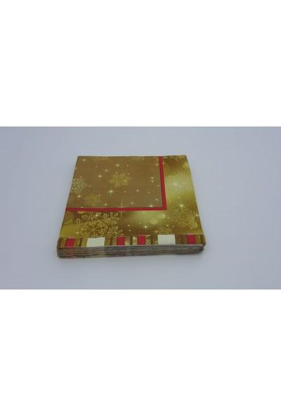 As7 Yılbaşı Gold Desenli Özel Peçete 33X33 1/4 Katlama 20 Li Paketlerde