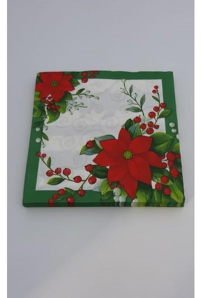 As7 Yeşil-Beyaz Yılbaşı Desenli Peçete 33X33 1/4 20 Li Paket
