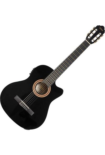 Valencia VC104CE Siyah Elektro Klasik Gitar