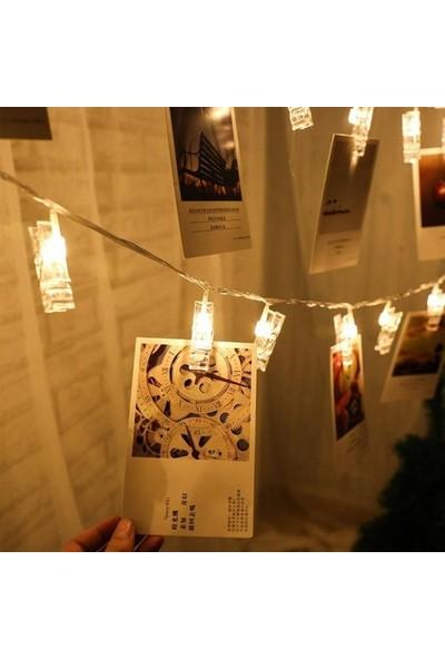 1 Özel Hediye 20 Li Gün Işığı Ledli Fotoğraf Mandalları