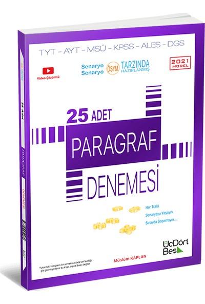 Üçdörtbeş Yayınları 25 Adet Paragraf Denemesi