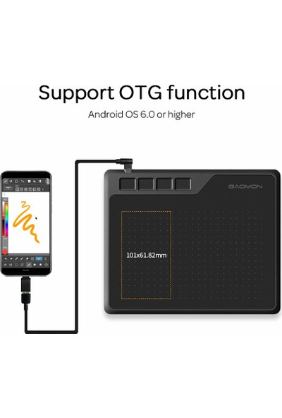 """Gaomon S620 6.5 x 4"""" Grafik Tablet ve 8192 Passive Pen 4 (Yurt Dışından)"""