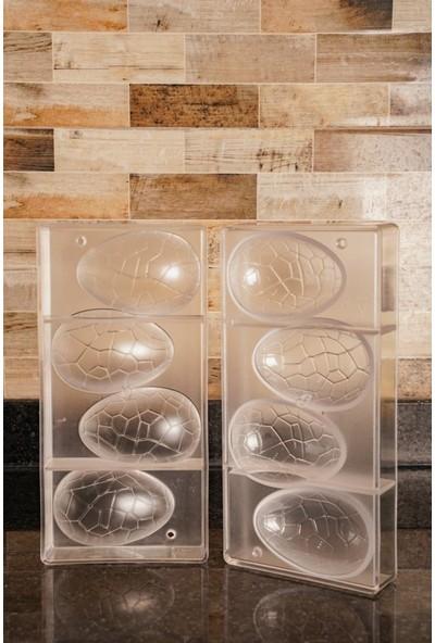 Globy Polikarbon 3D Büyük Paskalya Yumurtası Çikolata Kalıbı 4'lü