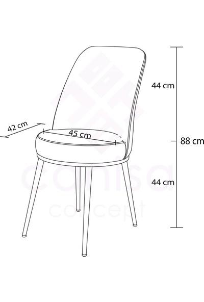 Canisa Concept Via Serisi Açılabilir Mutfak Masa Takımı- Siyah Mermer Desen Masa+6 Adet Sandalye
