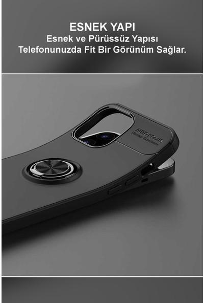Kılıfmania Samsung Galaxy A71 Kılıf Renkli Yüzüklü Manyetik Silikon Kapak Siyah - Rose Gold