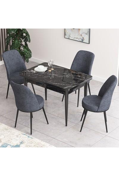 Canisa Concept Nil Serisi Siyah Mermer Desenli Yemek Masası Mutfak Masa Takımı+4 Adet Sandalye