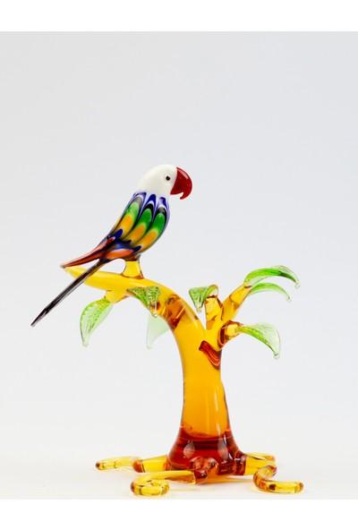 Adamodart Ağaçta Tekli Papağan Cam Biblo