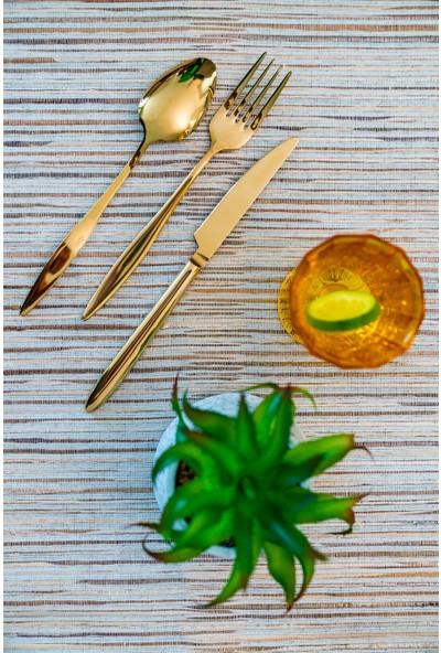 Kadı Kızı 18 Parça 6 Kişilik Gold Çatal Kaşık Bıçak Takımı
