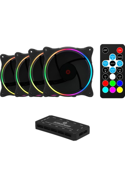 Frisby Double Slim Ring Rgb 4X120MM Sessiz Kasa Fanı