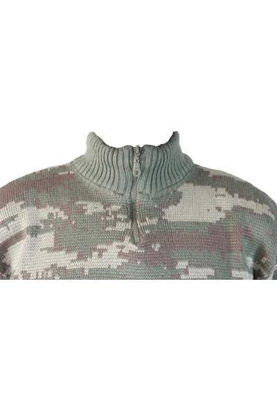 İstikamet Kzk 001 Istikamet Askeri Desenli Örme Kazak Trekking Sweatshirt Hırka Yeşil