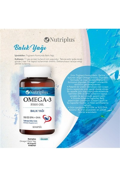 Farmasi Nutrıplus Omega3 Balık Yagı 60 Kapsul