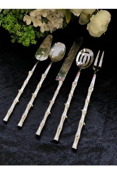 Royking EYM014 Bambu 5 Parça Servis Seti Gümüş