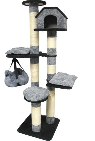Tiger Pets Cheerful Cat Kedi Evi ve Tırmalama 60 x 60 x 207 cm Gri