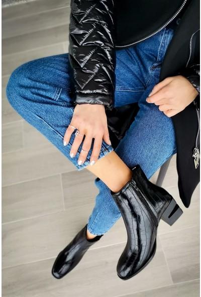 Gina Kroko Deri Fermuarlı Siyah Alçak Topuklu Bot