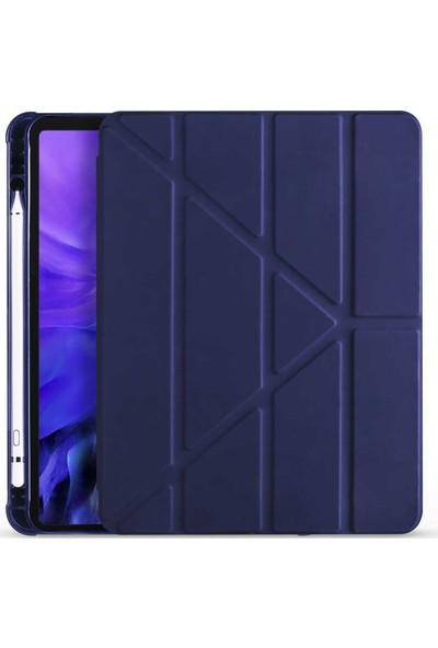 """Samsung Galaxy Tab S7 Plus SM-T970 12.4"""" Kılıf + Kalem Uyku Modlu Kalem Bölmeli Arkası Yumuşak Silikon Smart Standlı Kapaklı Tri Folding Tablet Kılıfı Lacivert"""