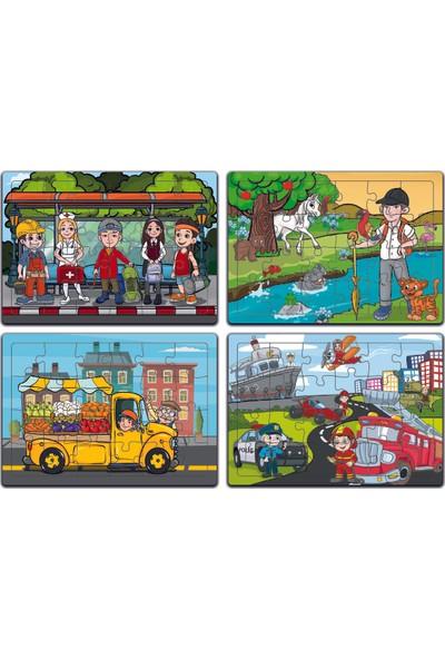MinİQ Toys Ahşap 4'lü Yapboz Seti(Meslekler ve Taşıtlar-Hayvan Dostlarımız-Çantalı Beşler-Manav Kamyoneti)