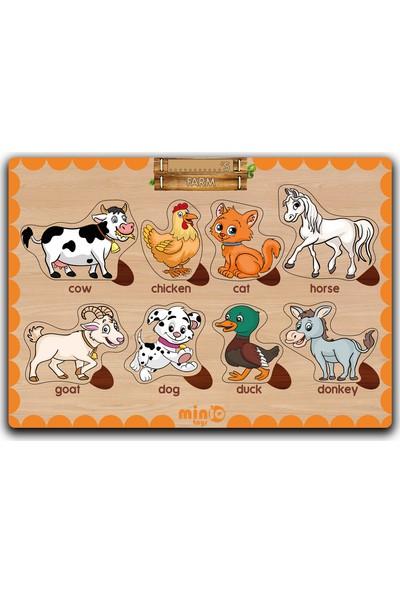 MinİQ Toys Ahşap Ingilizce Şekiller-Sebzeler-Meslekler-Çiftlik Hayvanları 4'lü Set Eğitici-Öğretici Yapboz