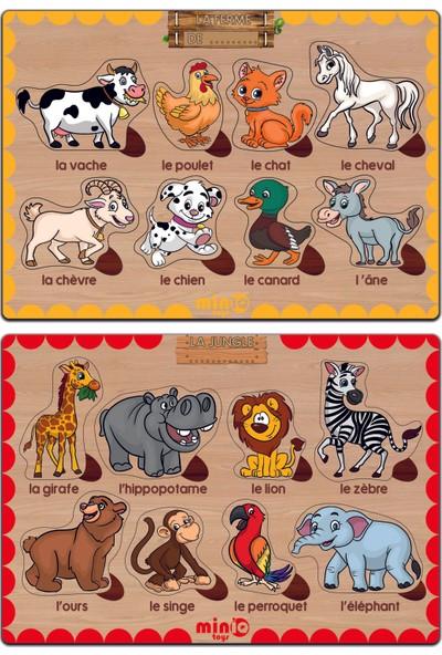 MinİQ Toys Ahşap Fransızca Orman ve Çiftlik Hayvanları 2'li Set Eğitici-Öğretici Yapboz